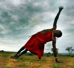Masai tribesmen can do yoga